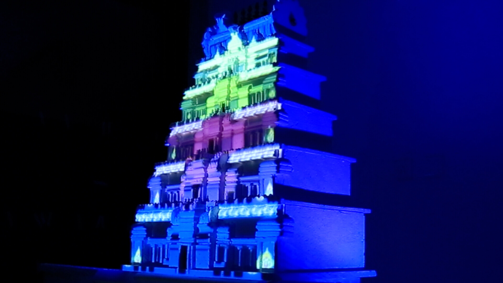 temple projection mapping, srushti, image mapping, holographic projection