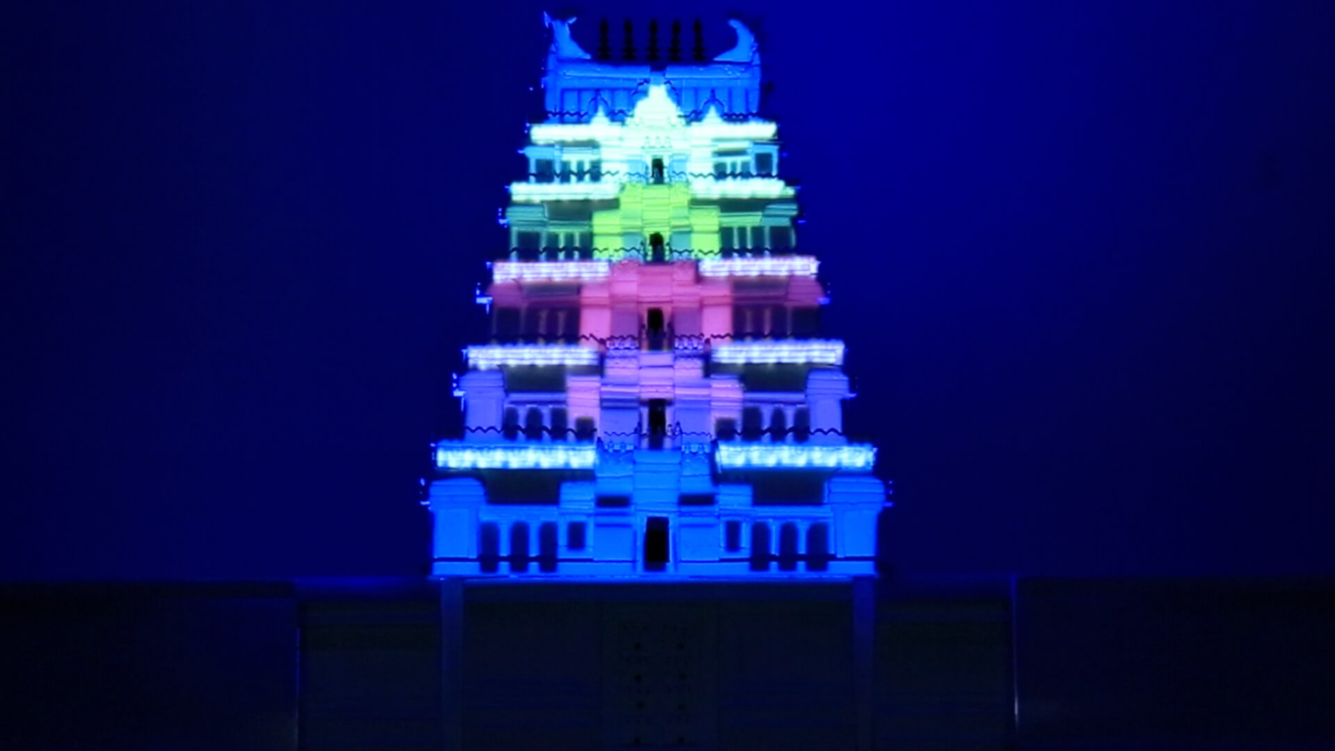 Temple projection mapping, immersive media, video mapping