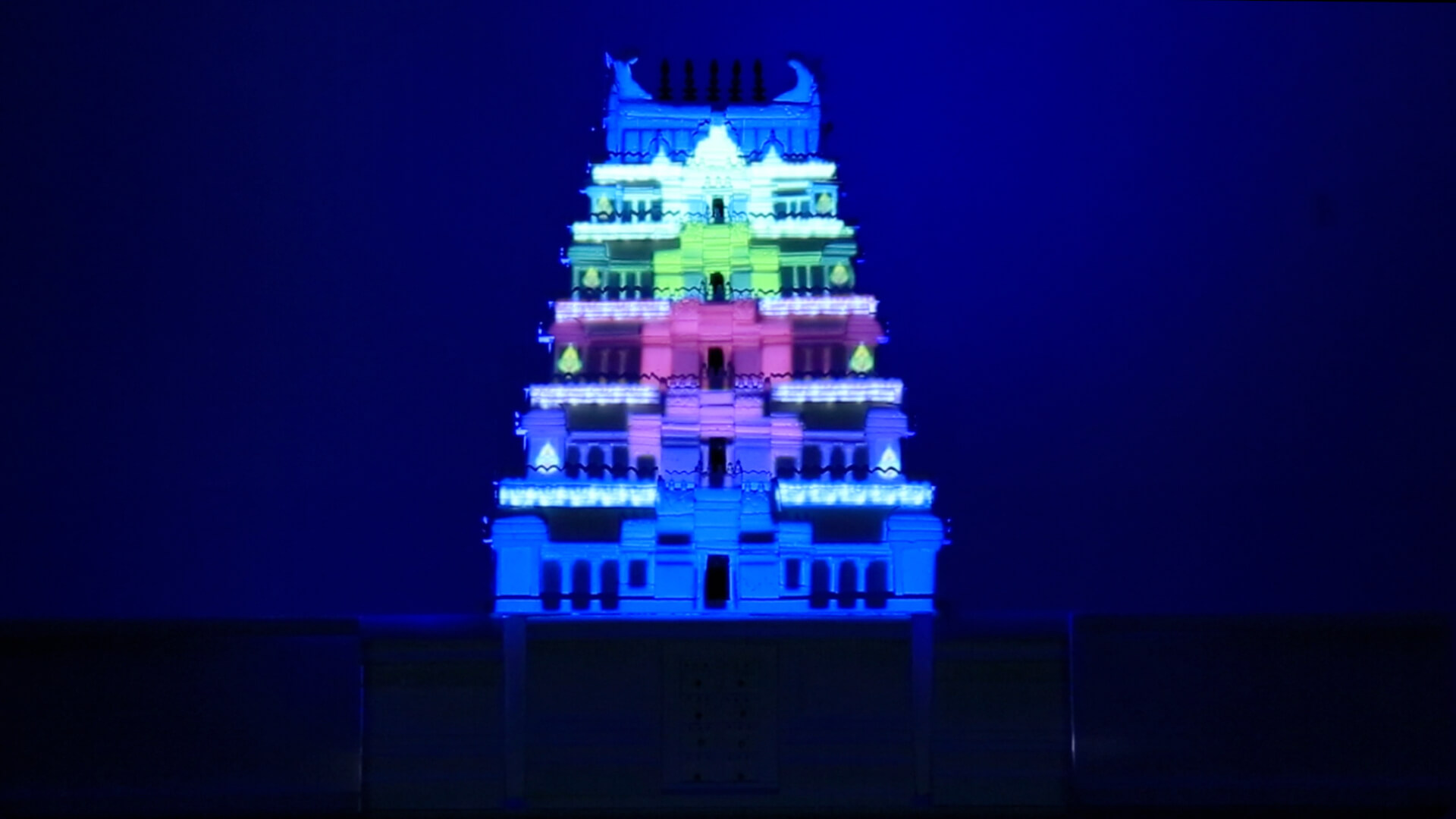 Temple projection mapping, video mapping, srushti, holographic projection